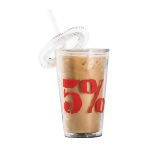 5% Nutrition 5% Iced Coffee Cup & Straw 620ml Clear