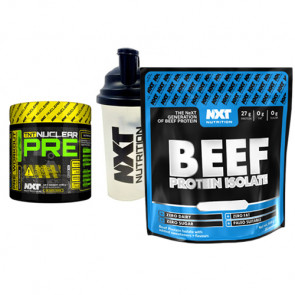 NXT Nutrtion Beef Protein Pre Workout Supplement Bundle